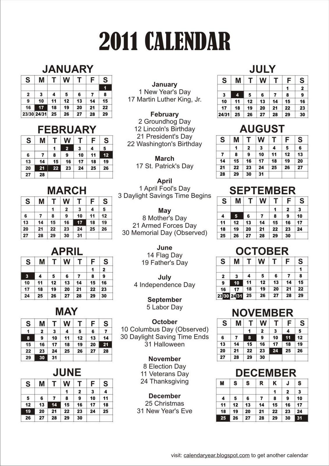 2011 printable calendar
