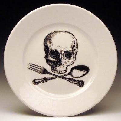 Skull and cross utensils, dessert plate by foldedpigs