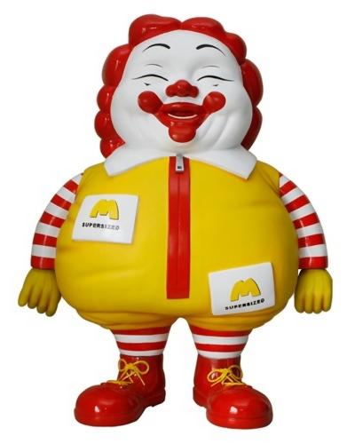 Ronald McDonald klovn som munter fed mand, skulptur af Ron English