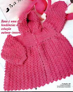 36e7223e000ea Casaquinho com capuz para bebê em crochê -  ( . ) Rô Tricô e Crochê ...