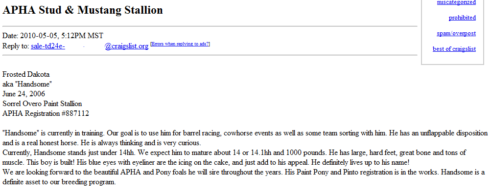 The Worst of CL Horse For Sale Ads: Double Shot of FFFS!