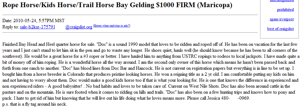 The Worst of CL Horse For Sale Ads: Long Back or Club Foot?