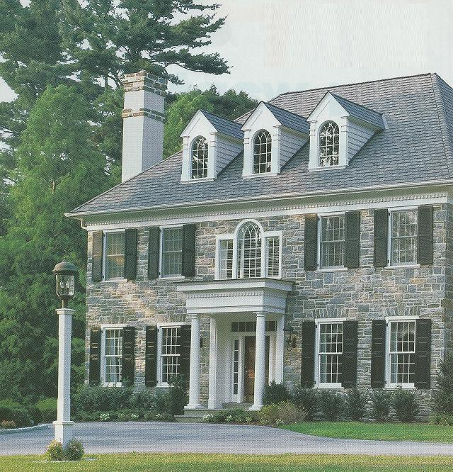 Stone Exterior Homes: Red Door Home: Stone Houses