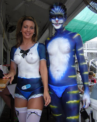 Photo of Fantasy Fest body paint costume on Duval Street