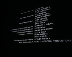 picture of movie credits on the screen