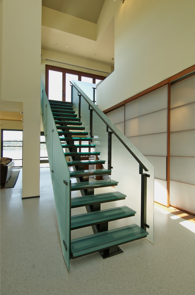 Seattle Glass Block: Structural Glass Stair with Glass Railing