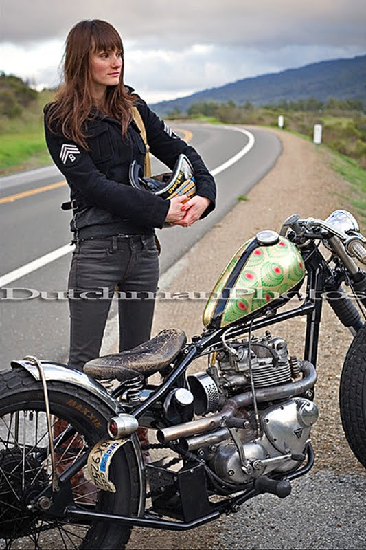 Visual gratification sara eileen her triumph bobber - Pictures of chicks on bikes ...
