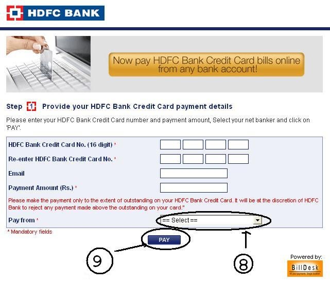 Hdfc Credit Card Online Payment From Other Bank Accounts