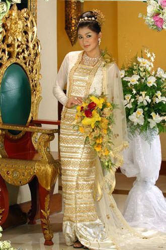 Eaindra Kyaw Zin in Beautiful Burmese Wedding Dress