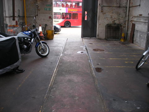 Tram lines in lewes road depot, where 53 was built.