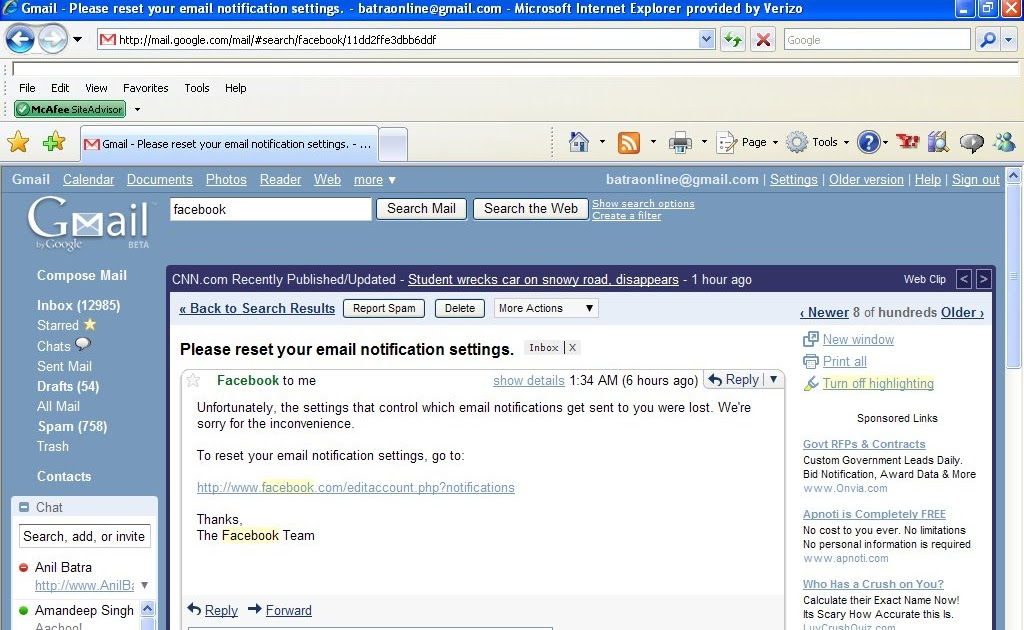 Facebook lost my Email Notification settings - Digital Marketing and Analytics by Anil Batra