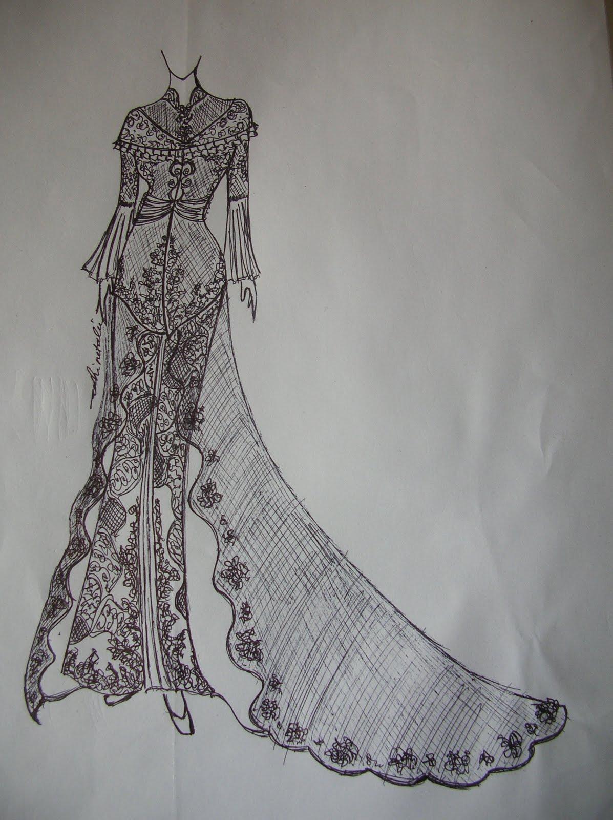 Kumpulan Cara Menggambar Sketsa Desain Baju Kebaya Muslimah