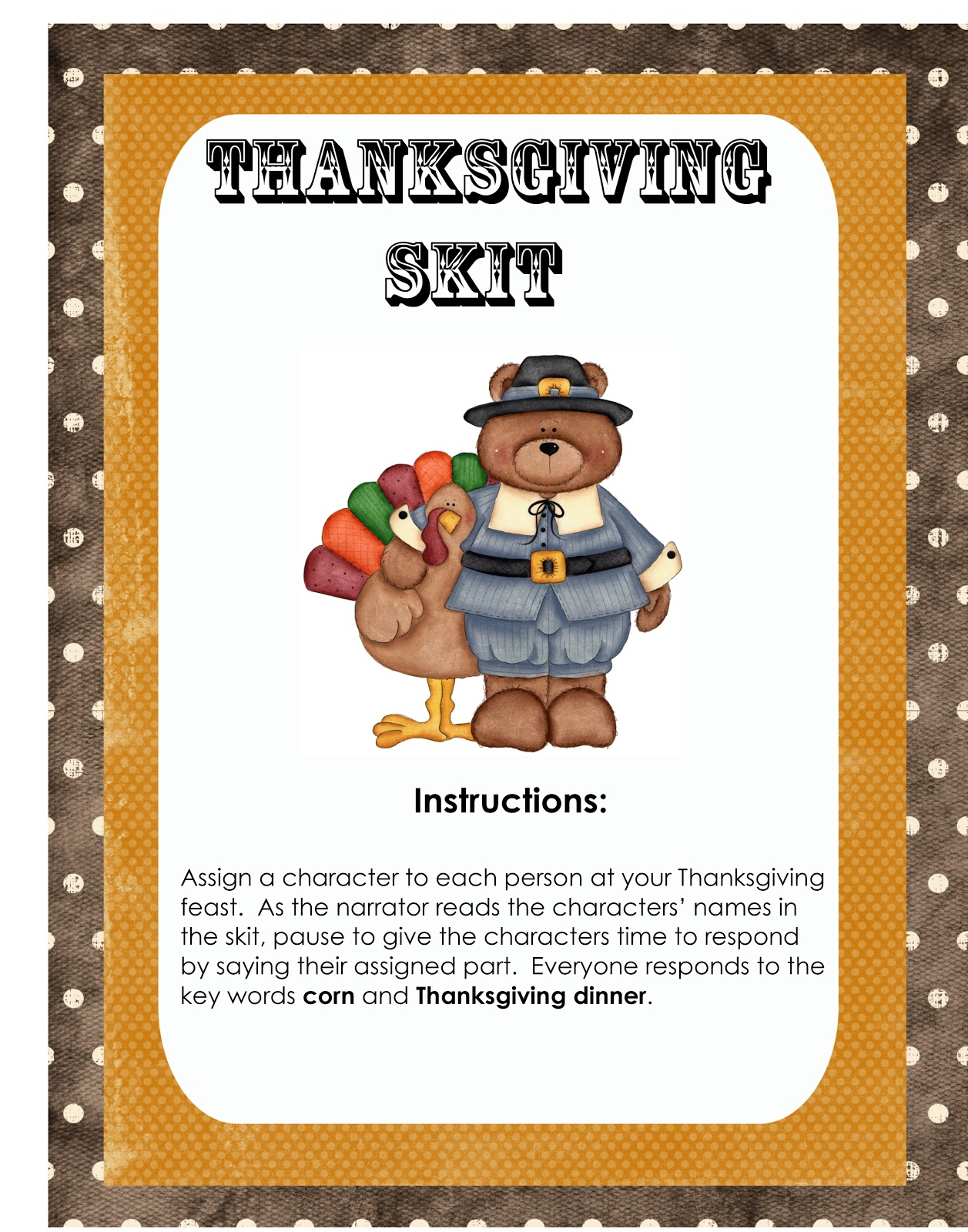 Thanksgiving Plays For Elementary School