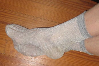 Silver metallic socks keep my toes comfortable in the coldest weather.
