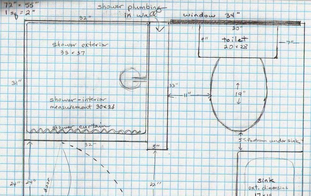 5 Acres Amp A Dream Bathroom Plans On Graph Paper