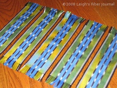 Leigh's ikat & painted warp bookmarks