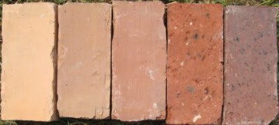 Old bricks in a range of natural colors.