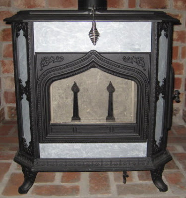 Close-up of stove front
