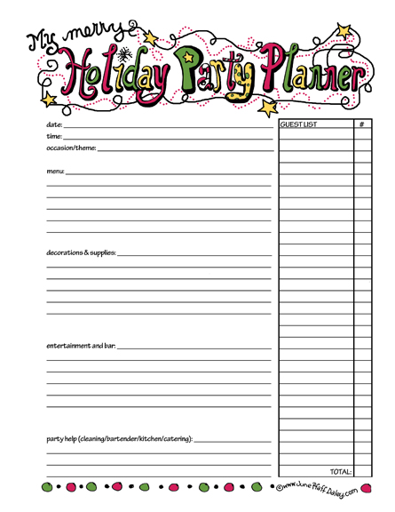 party menu planner template