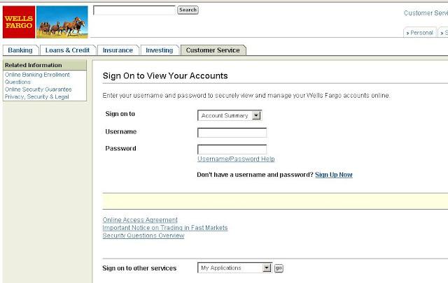 wells fargo online banking view account