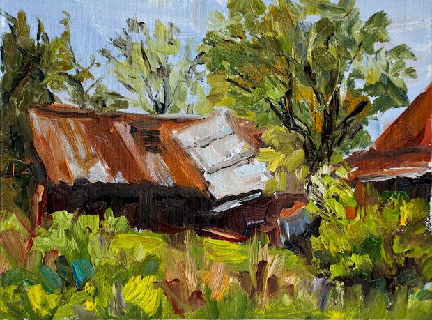 Kit Hevron Mahoney Fine Art Kmd2524 Era Landscape Barn Original