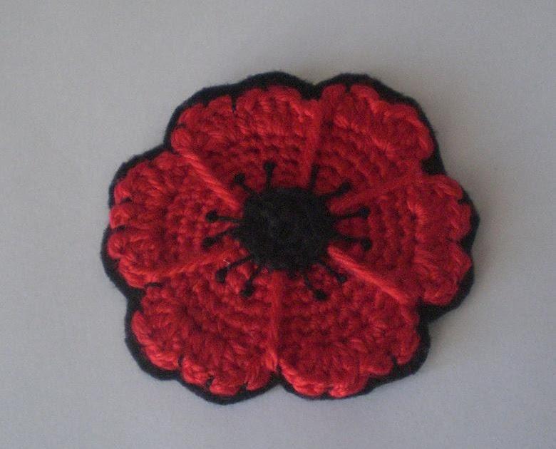 Crochet Cute Free Pattern Crocheted Poppy Flower Coasters