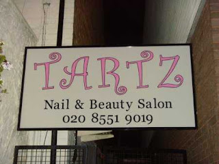 the sign outside Tartz