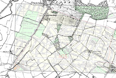 1880 Ordnance Survey overlayed with current A-Z road map for Clayhall