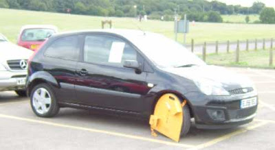 a clamped car in Hainault Forest