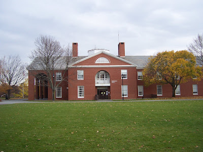 outside view of morison hall  center with trees