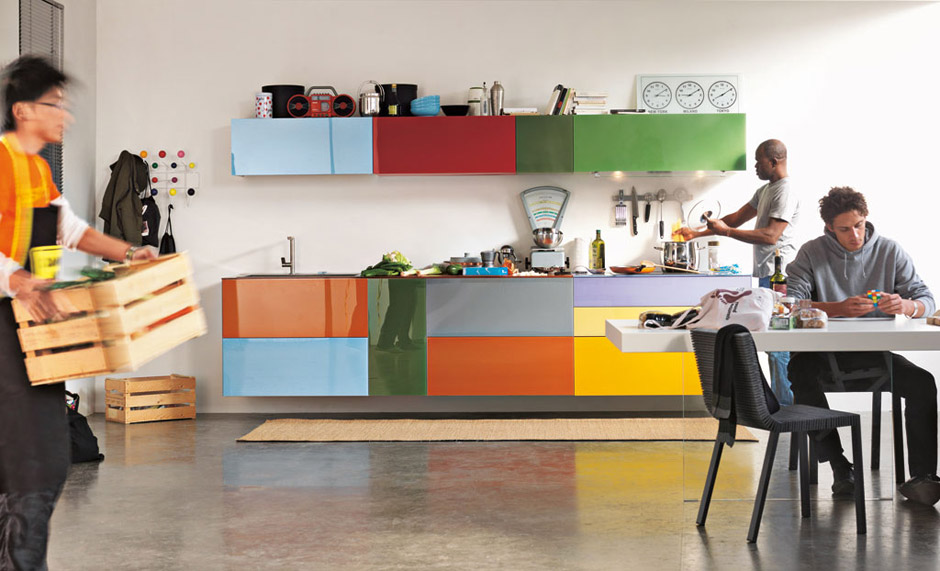 Modern Kitchen Designs With Colorful Kitchen Cabinet Combinations