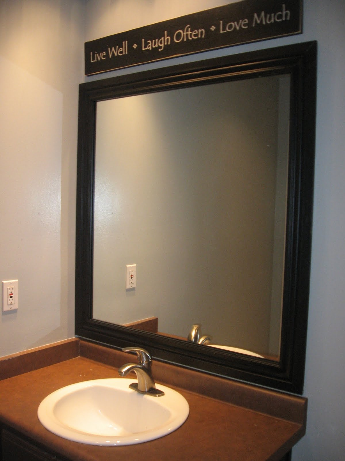 Frame Bathroom Mirror Blue Wall Paint Decorating In Small Home