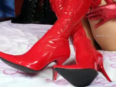 amor feet foot fetish red slutty shoes for shoejob