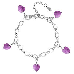 sterling silver charm bracelet with crystal hearts