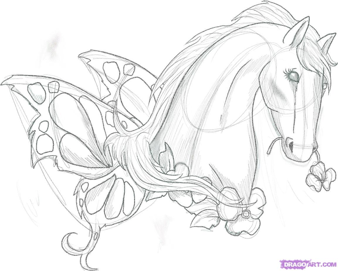 Horses drawings in pencil step by step - photo#47