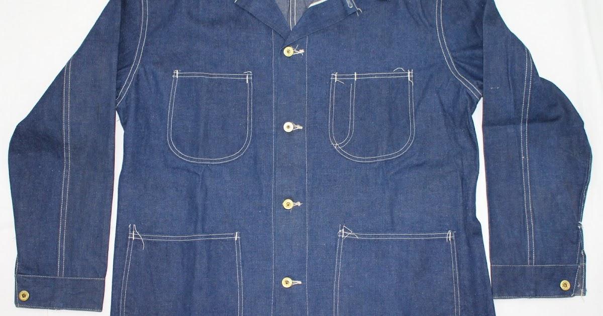 vintage workwear: 1940's Belt Back Selvedge Denim Jacket