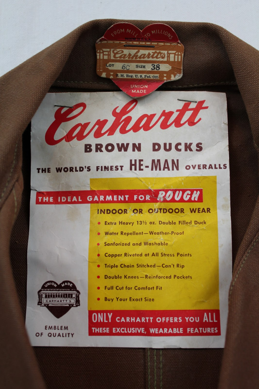 93e159779 vintage workwear: Deadstock 1940's Era Carhartt Union Made Brown ...