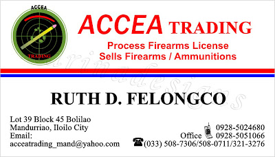 Sample Of Business Card Or Calling Firearms Trading License S Ammunitions