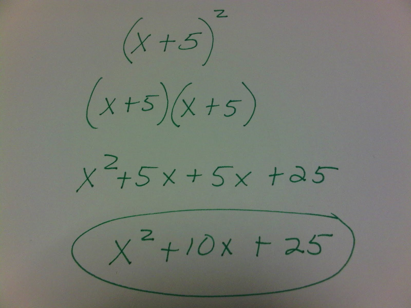 Algebra Aside Mulitpying Special Binomials