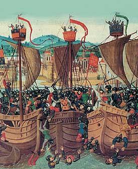 Representação da Batalha da Fogueira de Holmes, em 1666.