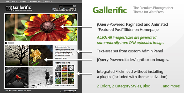 Gallerific Photography Theme by ThemeForest