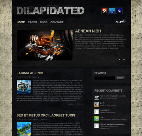 Dilapidated Wordpress Theme Free Download by ThemeForest.