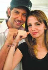 hrithik sussanne star tattoo