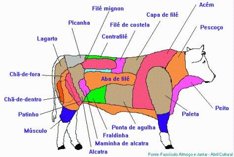 Esquema de partes comerciais de um bovino