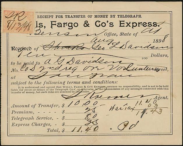 A Wells Fargo Wire Transfer