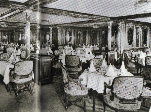 1st Class Writing Room made up for passenger's luncheon