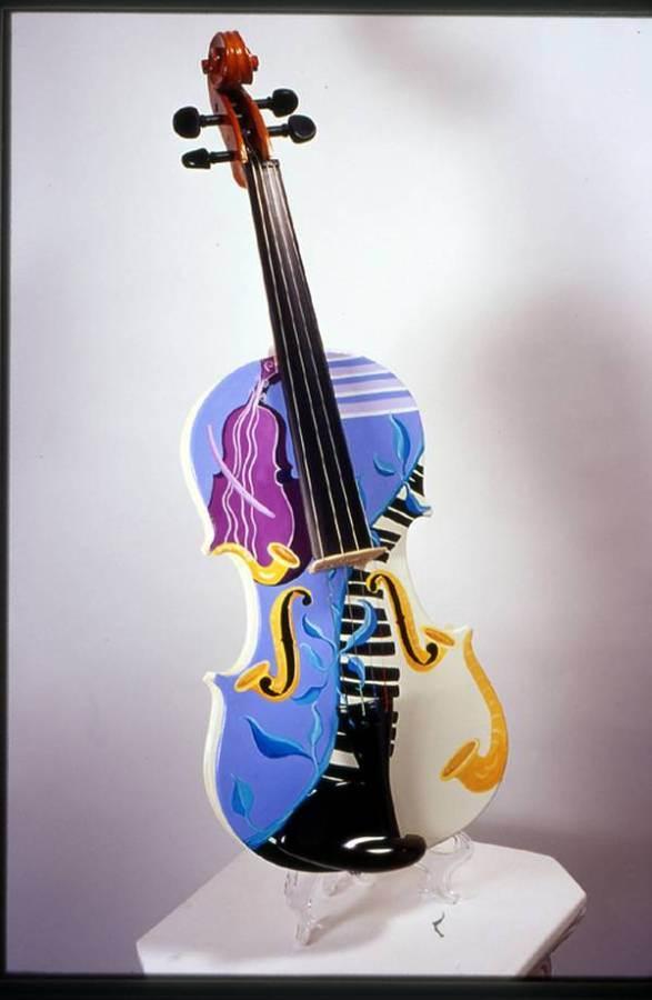 fun panorama colorfully painted violins