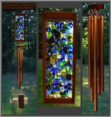 mixed media art wind chime, copper and glass