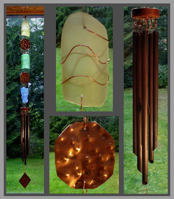Handcrafted art wind chime, glass, copper