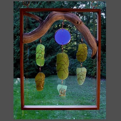 Framed beach glass inspired suncatcher with natural Pacific driftwood